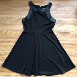 Dresses & Skirts - Little Black Dress with Faux Leather Trim